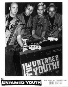 The Untamed Youth, circa 1992, with Mace, Deke Dickerson, Trent Ruane (the Mummies) and Dave Stuckey.